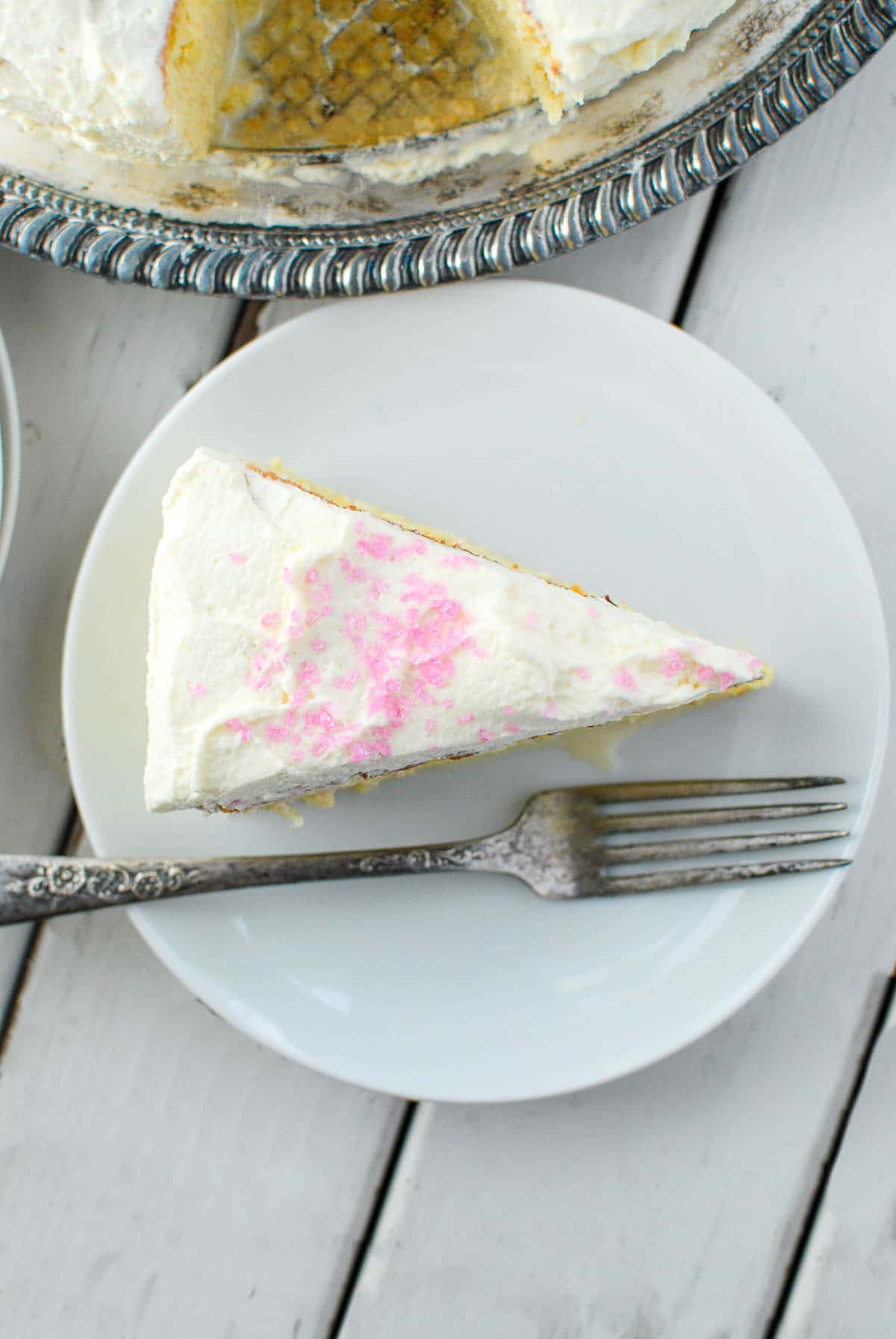 tres leches cake slice from above