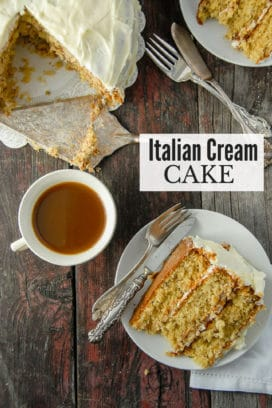 slice of Italian Cream Cake and cup of coffee