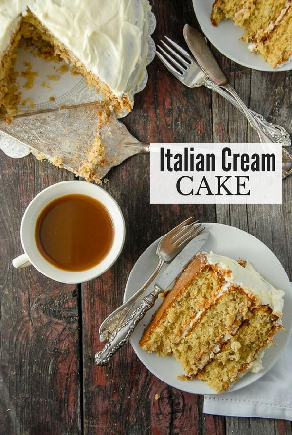 slice of Italian Cream Cake and cup of coffee