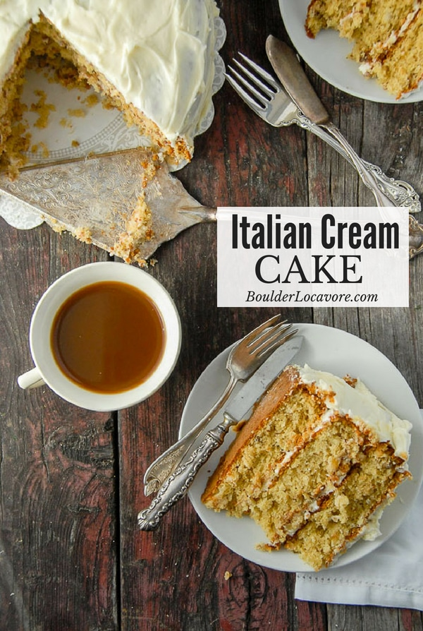 Italian Cream Cake (also called Italian Wedding Cake) is a moist three-layer cake with coconut, walnuts, buttermilk, cream cheese frosting and more. You won't want to wait for a special occasion to eat it! Easy recipe. Can be made #glutenfree too. #cake #Italian #layercake #creamcheese #coconut #walnut #dessert
