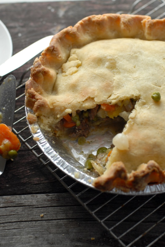 buffalo pot pie with slice removed