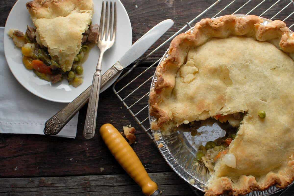 gluten free buffalo pot pie with slice on a plate