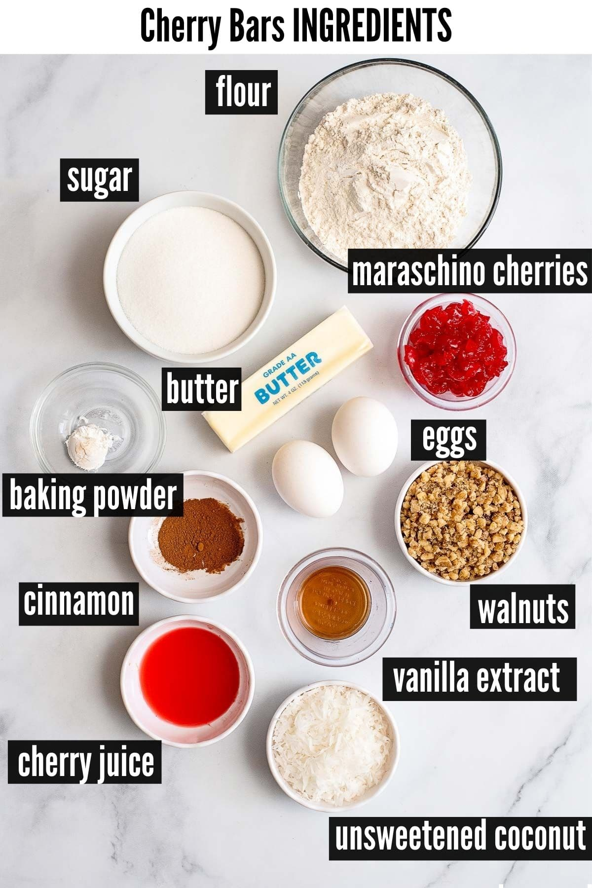 cherry bars ingredients labelled