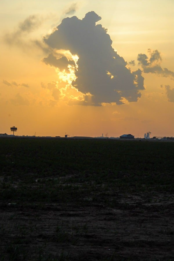 Sunset over ranch country in Amarillo Texas