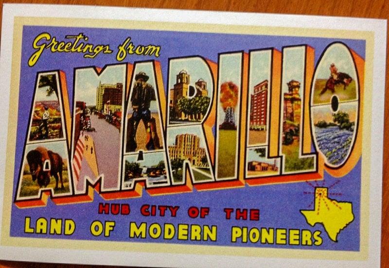 Amarillo Texas vintage postcard