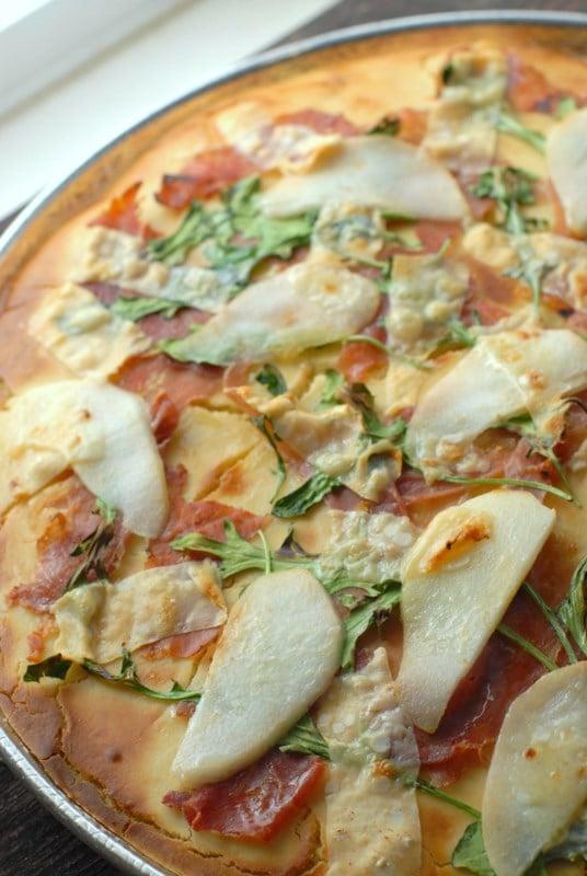 Pear Proscuitto Arugula Pizza