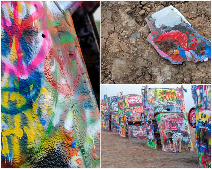 Photo collage of cars at Cadillac Ranch Amarillo Texas