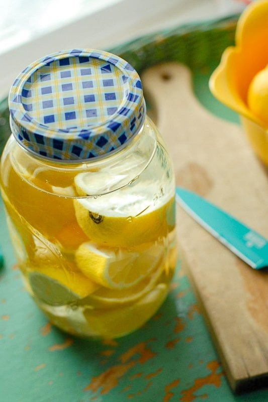 Lemon Vodka infusing in jar