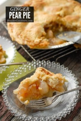 Pear Pie on glass plate