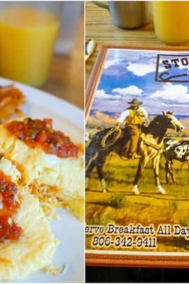 Eggs with salsa and menu from Stockyard Cafe Amarillo Texas