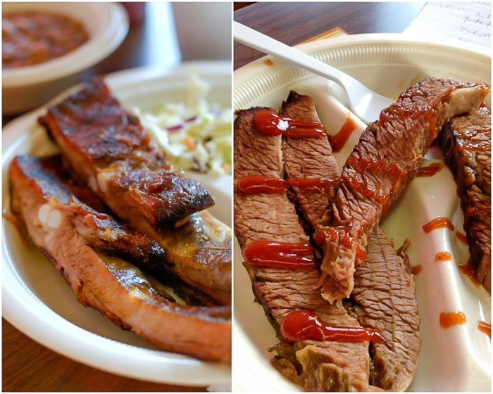 Barbecue ribs and brisket at Robinson's BBQ Amarillo Texas