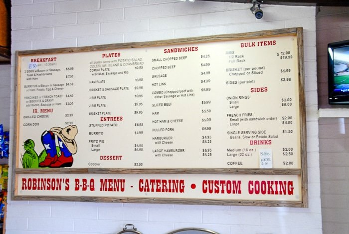 Robinson's BBQ Menu - Amarillo Restaurants