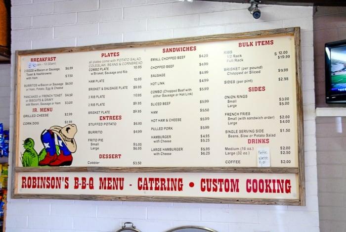 Robinson's BBQ Menu - Amarillo Restaurants