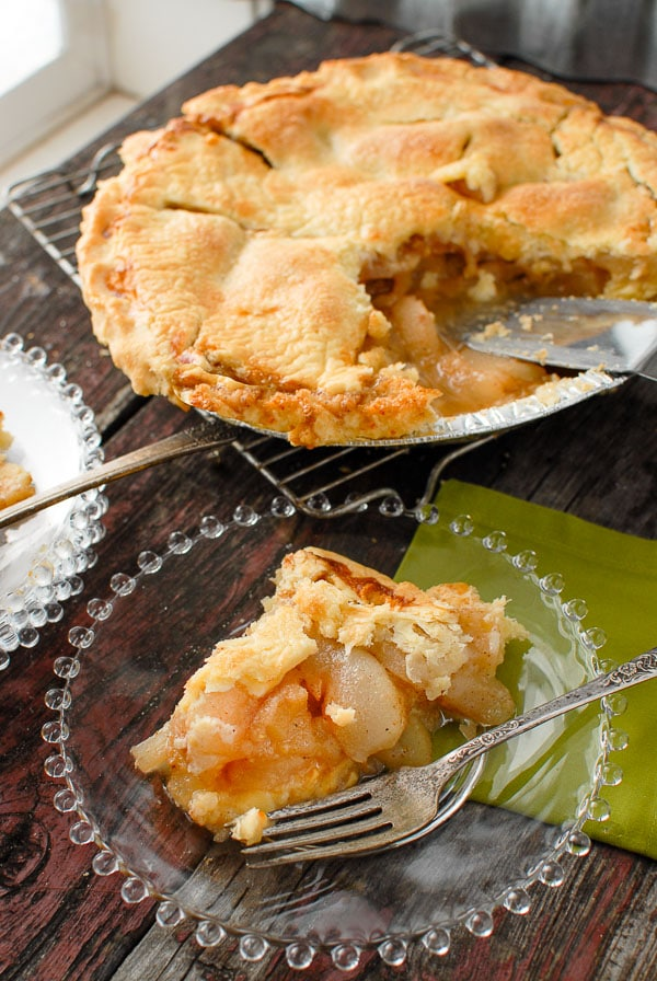freshly cooked Ginger Pear pie serving