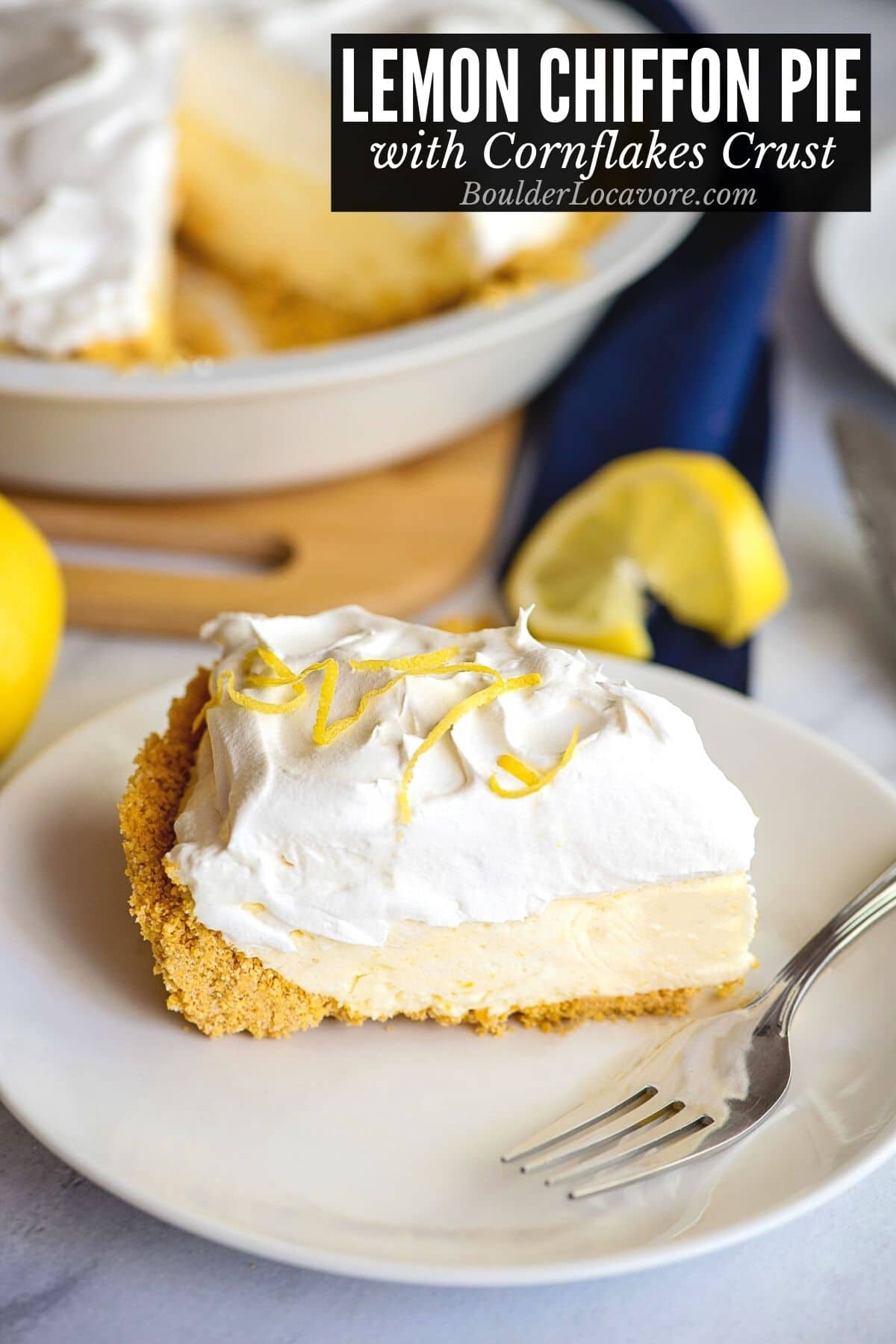 slice of Lemon Chiffon pie on plate with recipe title on image