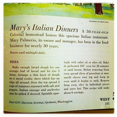 vintage recipe book with pizza recipe