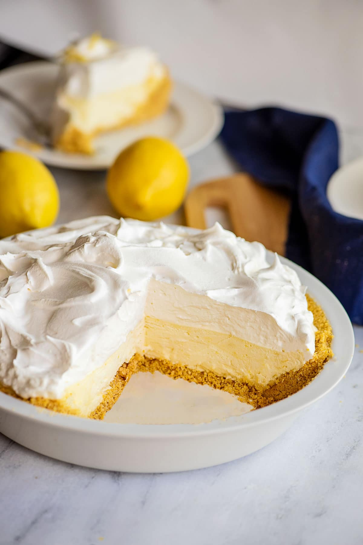 slice of lemon chiffon pie cut pie in pan