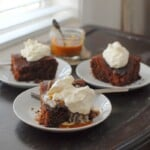 Dark Honey Cake with Salted Caramel Sauce and Whipped Cream