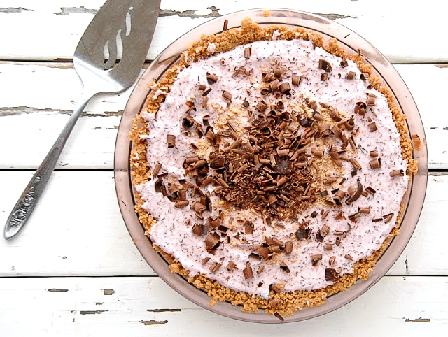 Cherry Chocolate Chip Pie from overhead