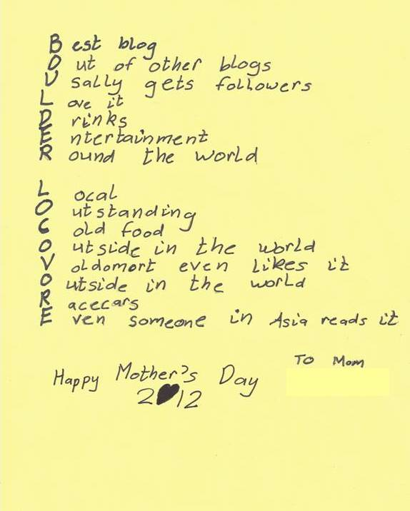 Mother's Day Poem 2012