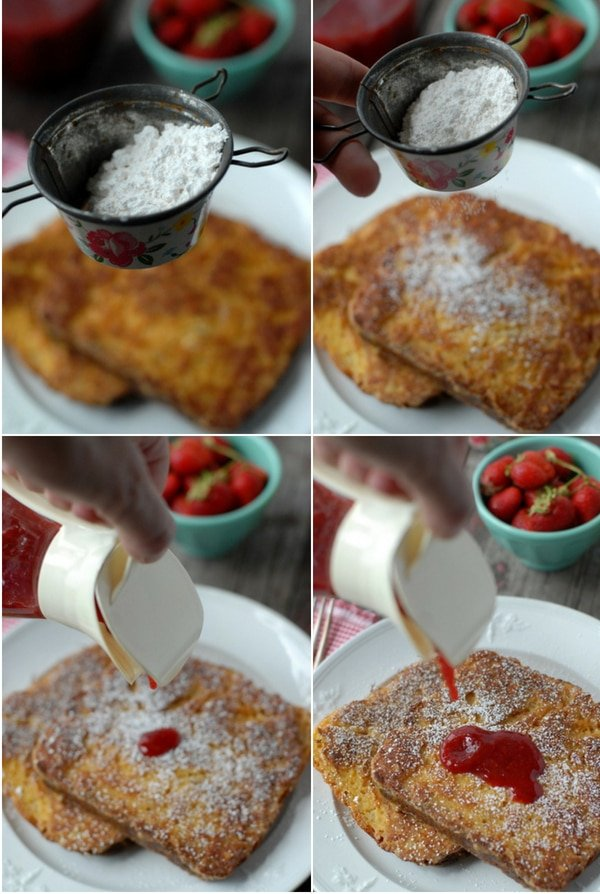 peanut butter french toast collage