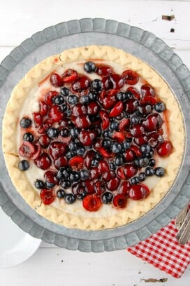 Cherry-Blueberry Cloud Pie on cake stand