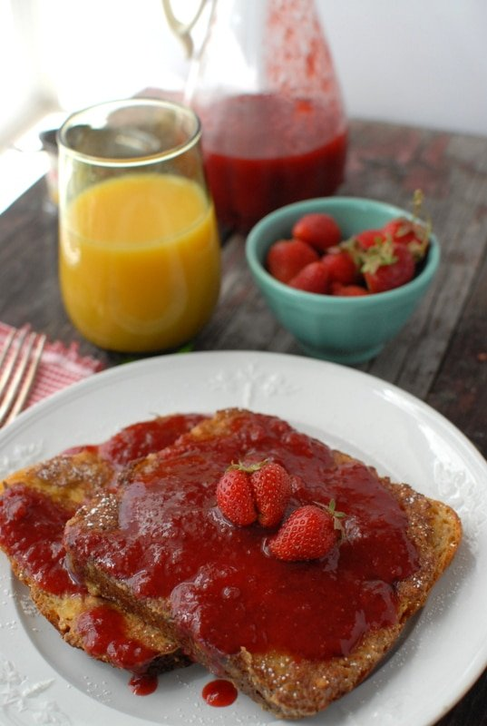 peanut butter french toast and strawberry syrup