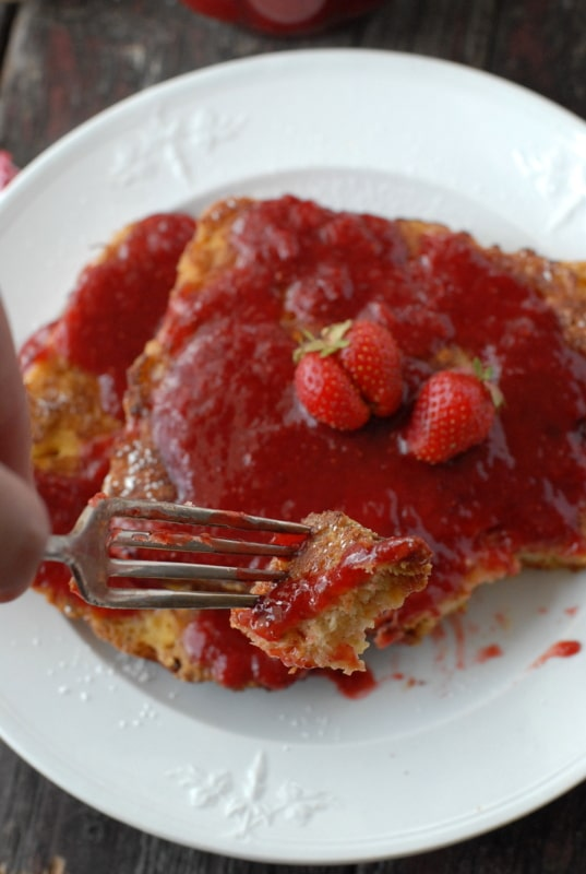 peanut butter French Toast with strawberry syrup - bite