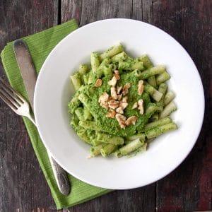 Kale Walnut Meyer Lemon Pesto on Brown Rice Penne Pasta