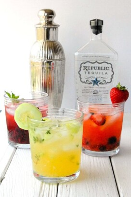 Strawberry-Blueberry, Blackberry-Mint and Cucumber-Thyme Fresh-Style Margarita