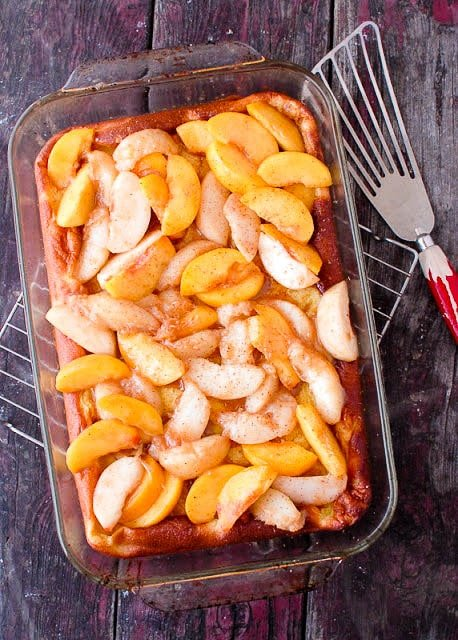 Golden Baked Pancake with Sauteed Peaches - BoulderLocavore.com