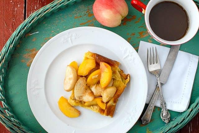 Golden Baked Pancake with Sautéed Peaches