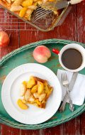Golden Oven-Baked Pancake Topped with Sauteed Peaches