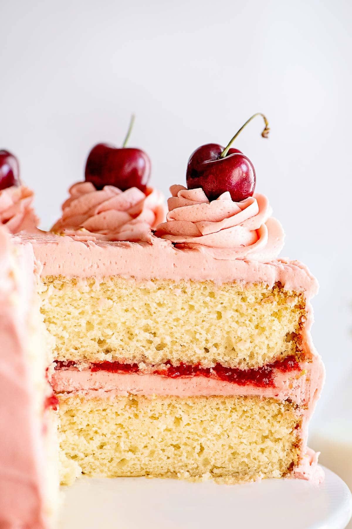 cherry sour cream cake slice side