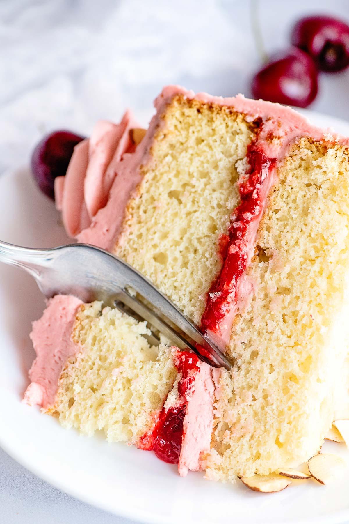 cherry sour cream cake slice