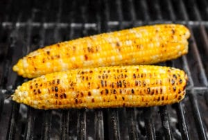 Freshly grilled corn on the cob for Grilled Peach and Corn Salsa BoulderLocavore.com