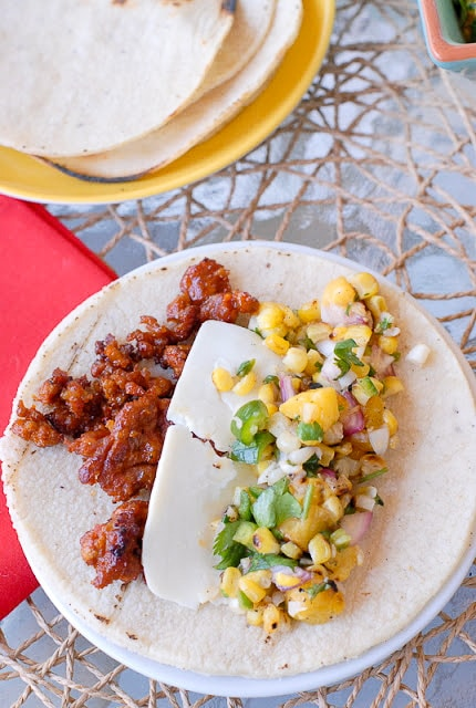 Grilled Corn and Peach Salsa with Smoked Chorizo Taco - BoulderLocavore.com