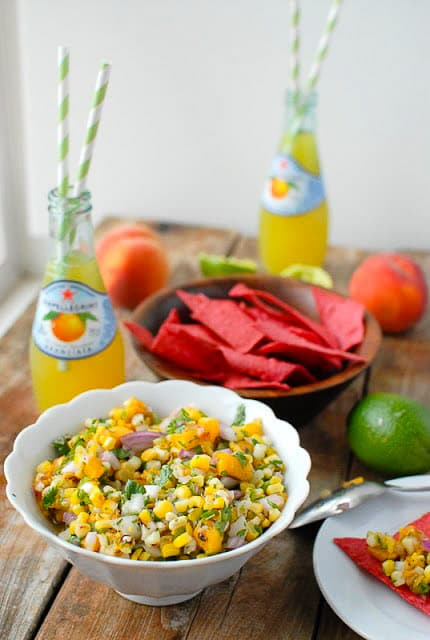 Grilled Peach and Corn Salsa with red corn tortilla chips, bottled lemonade, a fresh lime and peach BoulderLocavore.com