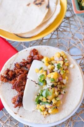 Chorizo and corn tacos