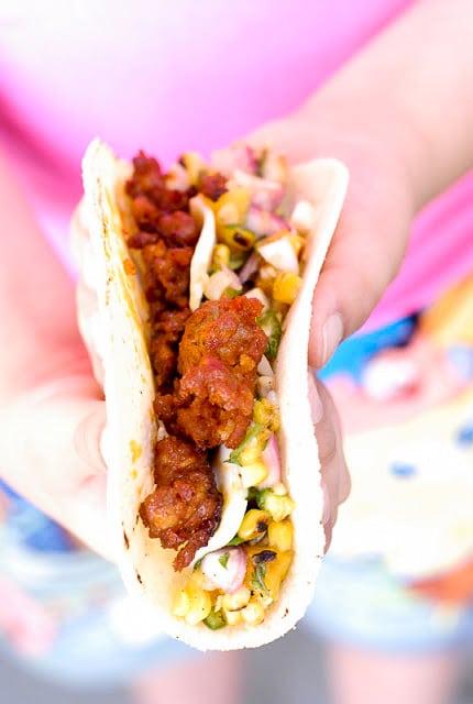 Smoked Chorizo Tacos with Grilled Peach Salsa - BoulderLocavore.com
