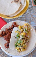 Smoked Chorizo Soft Tacos with Grilled Peach and Corn Salsa