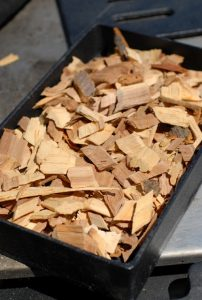 Wood chips on grill