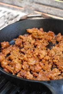Chorizo in cast iron skillet