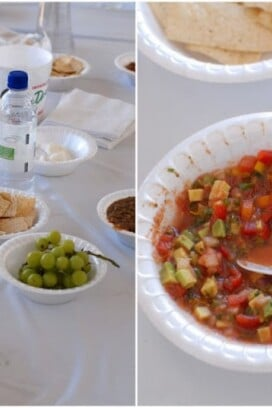bowls of salsa and snacks