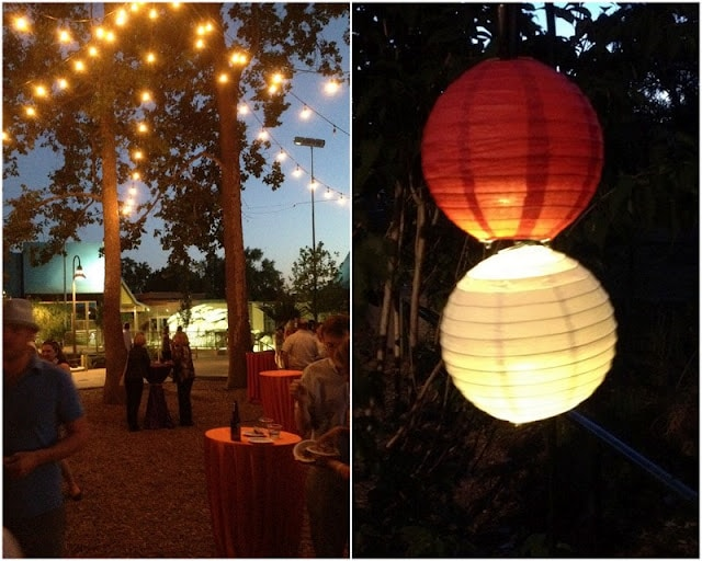 light lanterns and light strings on outside dining area