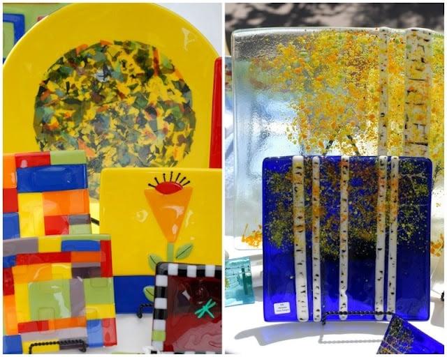 glass plates at art festival