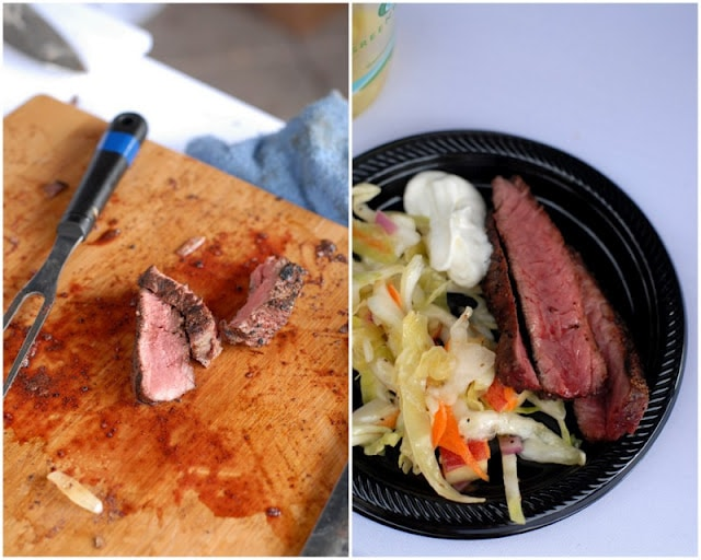 sliced cooked bison and plat of food