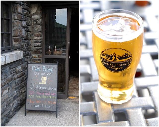 restaurant chalkboard sign and Banff beer pint