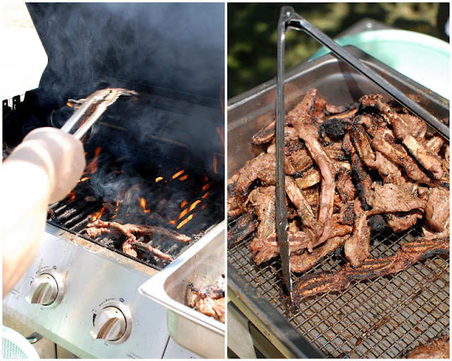 A grill that has different types of food