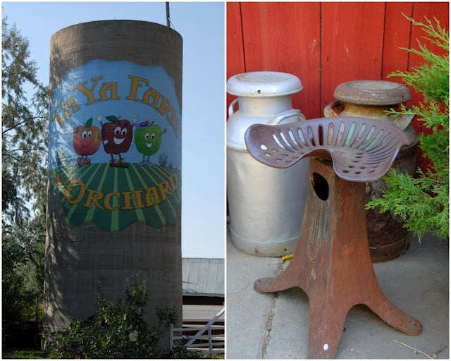 2 photo collage: painted silo at Ya Ya Farms on left and iron antique stool on right